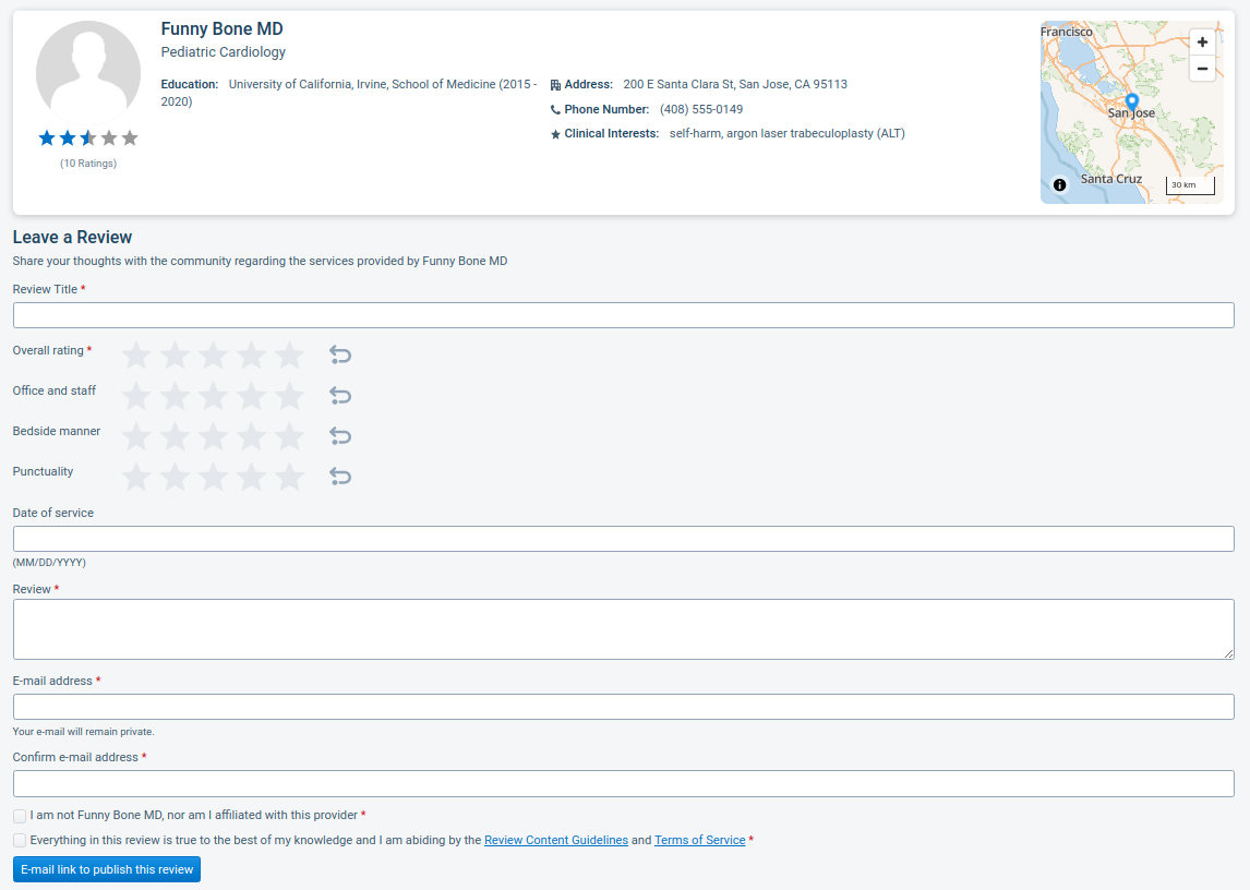 Image of the Leave a review form showing the fields to be completed by the user.